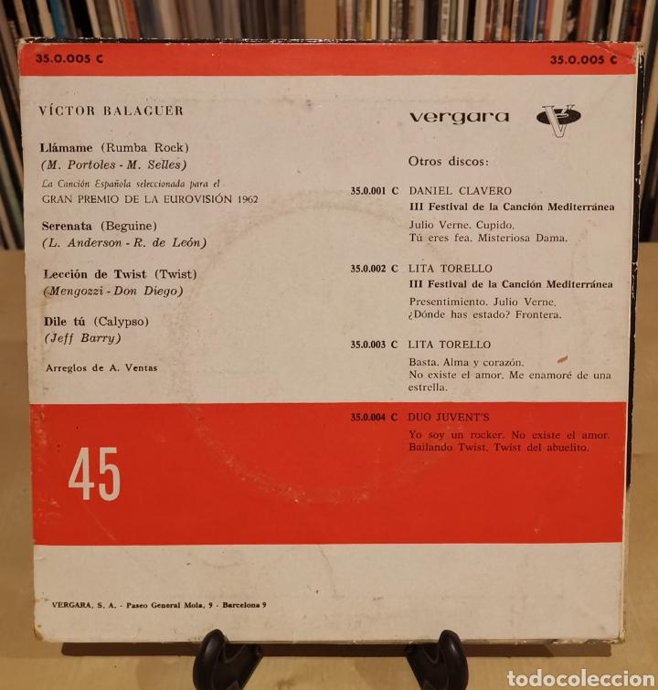 Discos de vinilo: VÍCTOR BALAGUER -EP- LLÁMAME + 3 SPAIN 60,S EUROVISIÓN - Foto 2 - 176303267