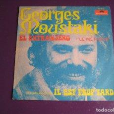 Disques de vinyle: GEORGES MOUSTAKI SG POLYDOR 1969 EL EXTRANJERO ( LE METEQUE) +1 CHANSON FRANCIA. Lote 176315367