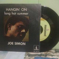 Discos de vinilo: JOE SIMON HANGIN' ON SINGLE SPAIN 1968 PEPETO TOP . Lote 176392153