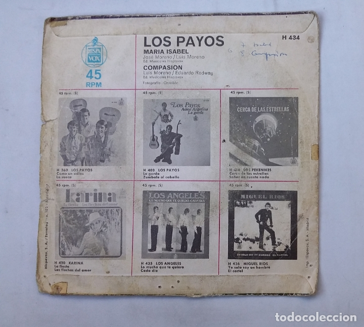 Discos de vinilo: LOS PAYOS.- MARIA ISABEL - COMPASION. single. TDKDS16 - Foto 2 - 176434705