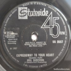 Discos de vinilo: SOUL SURVIVORS - 45 UK - EXPRESSWAY TO YOUR HEART / HEY GYP - 1967. Lote 176463562