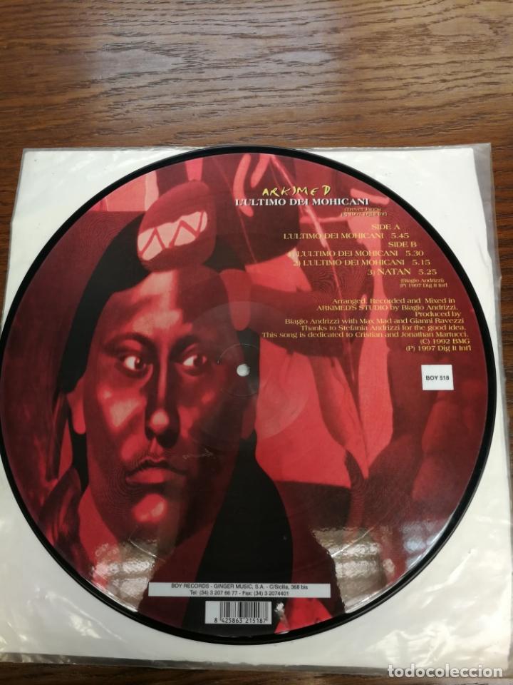 Discos de vinilo: Picture Disc-Arkimed - Lultimo Dei Mohicani (El ultimo Mohicano Makina La ruta del Bakalao, año 97) - Foto 3 - 176488043