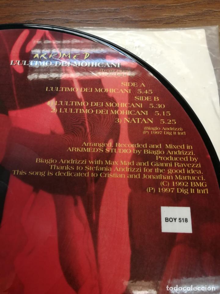 Discos de vinilo: Picture Disc-Arkimed - Lultimo Dei Mohicani (El ultimo Mohicano Makina La ruta del Bakalao, año 97) - Foto 4 - 176488043