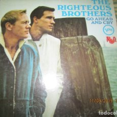 Discos de vinilo: THE RIGHTEOUS BROTHERS - GO AHEAD AND CRY LP - ORIGINAL U.S.A. - VERVE RECORDS 1966 - MONO -. Lote 176504544