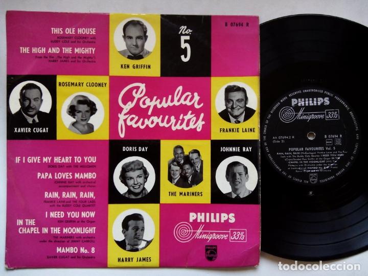 POPULAR FAVOURITES Nº 5. 10 PULGADAS PHILIPS B07694R. HOLLAND. XAVIER CUGAT. KEN GRIFFIN. DORIS DAY. (Música - Discos - LP Vinilo - Orquestas)