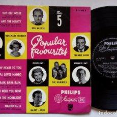Discos de vinilo: POPULAR FAVOURITES Nº 5. 10 PULGADAS PHILIPS B07694R. HOLLAND. XAVIER CUGAT. KEN GRIFFIN. DORIS DAY.. Lote 176510253