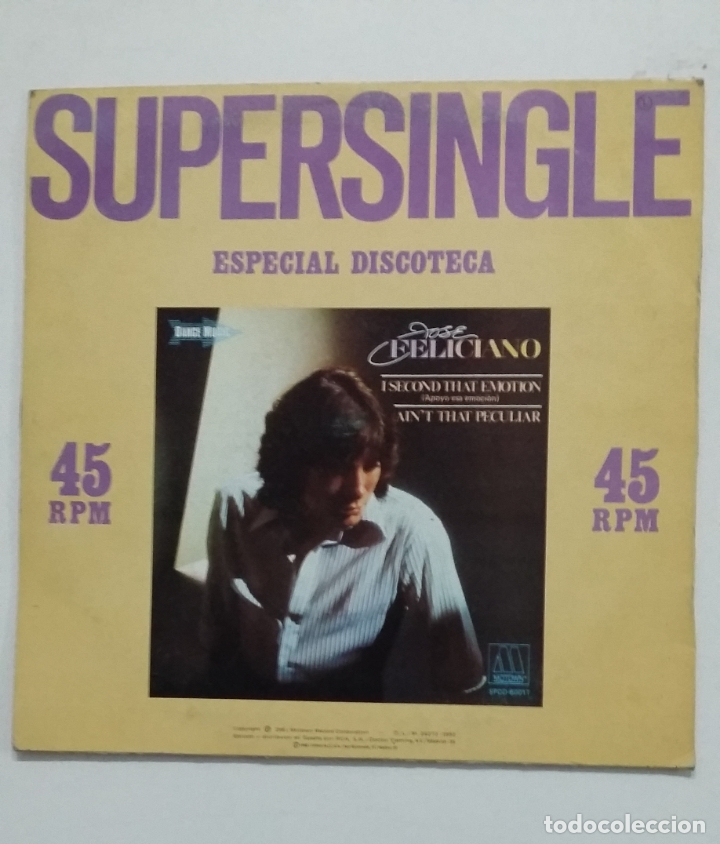 Discos de vinilo: SUPERSINGLE ESPECIAL DISCOTECA. JOSE FELICIANO. I SECOND THAT EMOTION. AINT THAT PECULIAR. TDKDA66 - Foto 2 - 176606600