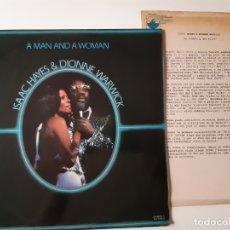 Discos de vinilo: ISAAC HAYES & DIONNE WARWICK- A MAN AND A WOMAN - SPAIN 2 LP 1977+ HOJAS PROMO RADIO- EXC. ESTADO.. Lote 176669473