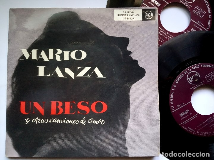 MARIO LANZA - UN BESO - DOBLE EP 2XEP PORTADA DOBLE 1955 - RCA (Música - Discos de Vinilo - EPs - Clásica, Ópera, Zarzuela y Marchas)