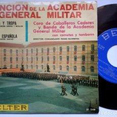 Discos de vinilo: BANDA DE LA ACADEMIA GENERAL MILITAR - CANCION DE LA ACADEMIA - EP 1966 - BELTER. Lote 176721529