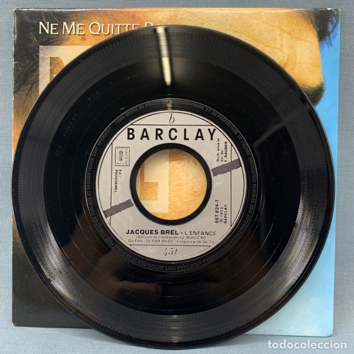 Discos de vinilo: SINGLE JACQUES BREL NE ME QUITTE PAS - 1988 BARCLAY - Foto 3 - 176724264