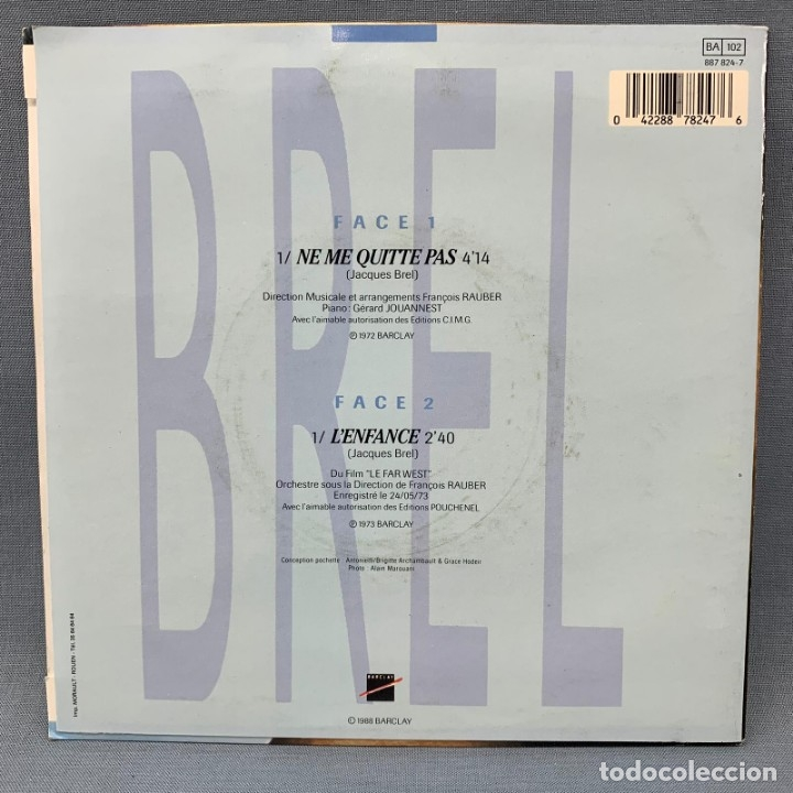 Discos de vinilo: SINGLE JACQUES BREL NE ME QUITTE PAS - 1988 BARCLAY - Foto 4 - 176724264