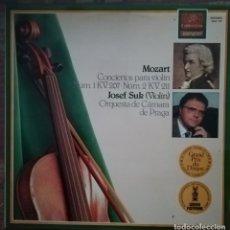 Discos de vinilo: W. A. MOZART, CONCIERTOS PARA VIOLIN N. 1 Y 2. POR J. SUK, ORQUESTA DE CÁMARA DE PRAGA. Lote 176738099