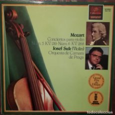 Discos de vinilo: W. A. MOZART, CONCIERTOS PARA VIOLIN N. 5 Y 6. POR J. SUK, ORQUESTA DE CÁMARA DE PRAGA. Lote 176738350