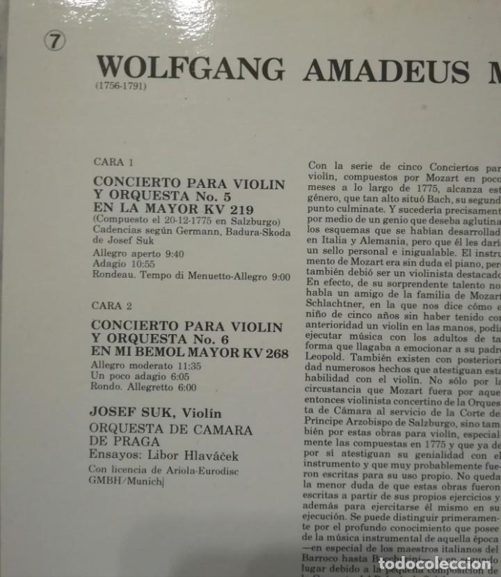 Discos de vinilo: W. A. Mozart, conciertos para violin n. 5 y 6. Por J. Suk, orquesta de cámara de Praga - Foto 2 - 176738350