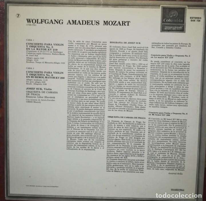 Discos de vinilo: W. A. Mozart, conciertos para violin n. 5 y 6. Por J. Suk, orquesta de cámara de Praga - Foto 3 - 176738350
