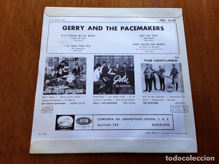 Discos de vinilo: GERRY AND THE PACEMAKERS 1965 MERSEBEAT ORIGINAL EP ESPAÑOL - Foto 2 - 176768490