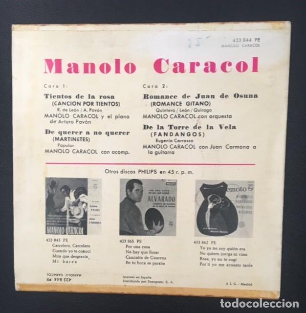 Discos de vinilo: MANOLO CARACOL - TIENTOS DE LA ROSA - Foto 2 - 176768679