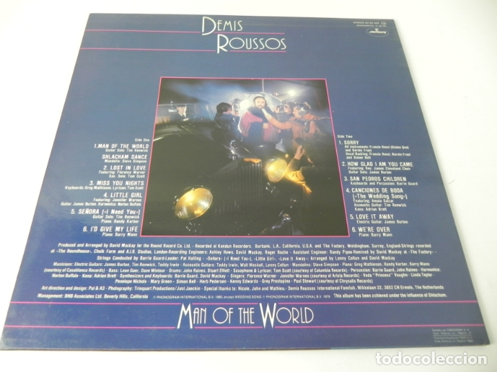 Discos de vinilo: LP DEMIS ROUSSOS (MAN OF THE WORLD) MERCURY-1980 (EXCELENTE ESTADO) - Foto 4 - 176797235