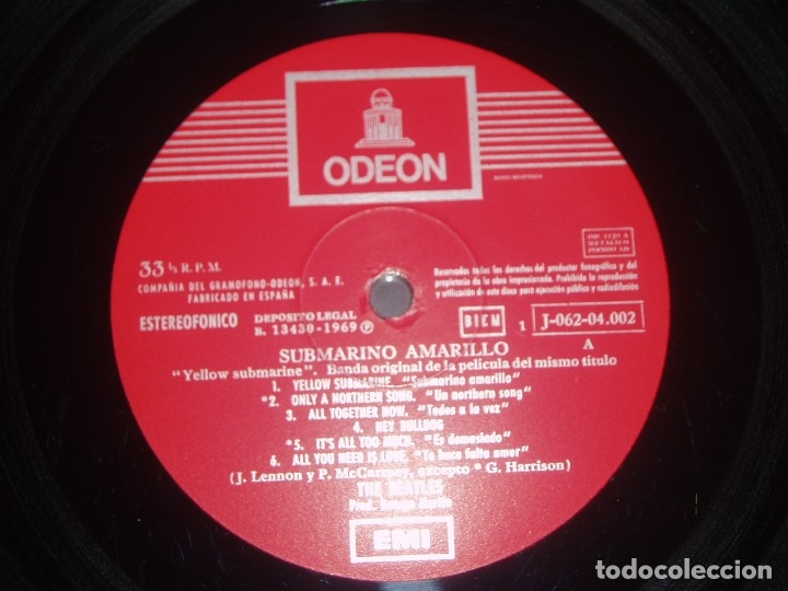 Discos de vinilo: THE BEATLES LP Yellow Submarine spanish early pressing Red Label ODEON SPAIN EX+ - Foto 4 - 176815959