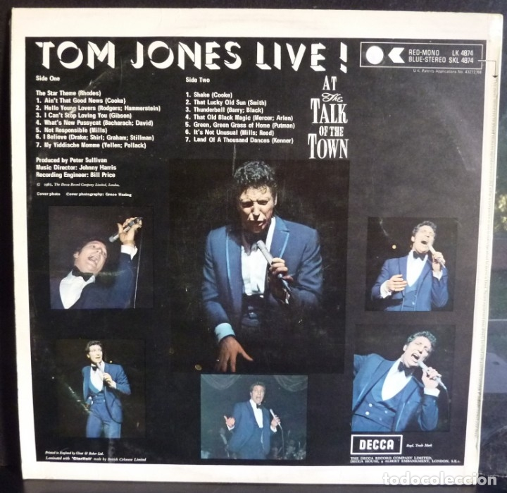 Discos de vinilo: TOM JONES //AT THE TALK OF THE TOWN //1967//VG+VG+) MADE IN ENGLAND. LP - Foto 2 - 176819888