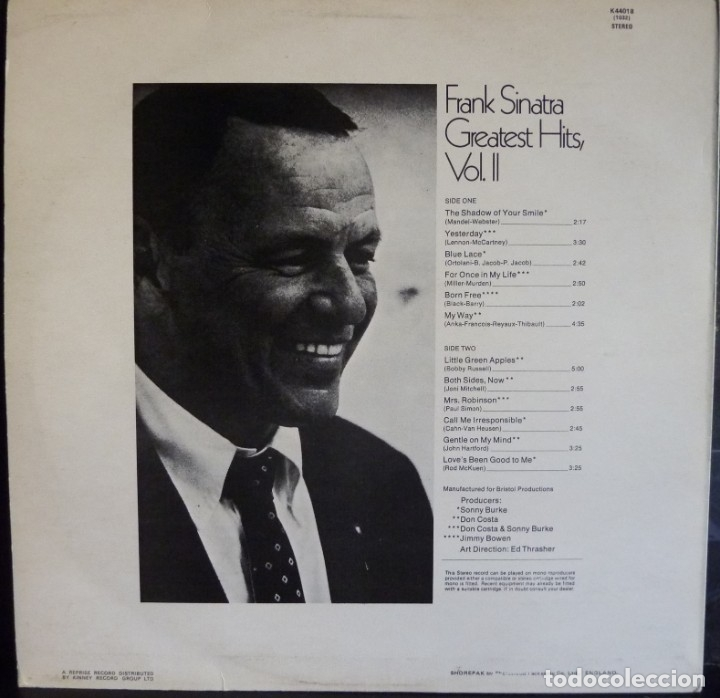 Discos de vinilo: FRANK SINATRA //GREATEST HITS VOL II//1969//(VG+VG+)MADE IN ENGLAND. LP - Foto 2 - 176820032