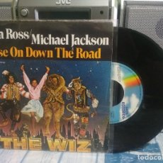 Discos de vinilo: DIANA ROSS / MICHAEL JACKSON EASE ON DOWN THE ROAD SINGLE SPAIN 1984 PDELUXE. Lote 176906118