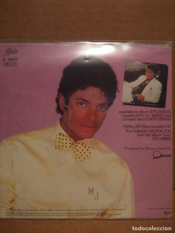 Discos de vinilo: SG MICHAEL JACKSON : THRILLER ( SPECIAL EDIT ) + THE JACKSONS : THINGS I DO FOR YOU - Foto 2 - 176908572