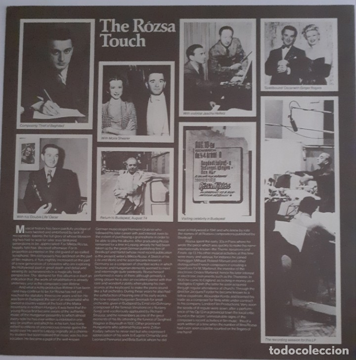 Discos de vinilo: MIKLOS ROZSA CONDUCTS HIS GREAT MUSIC FILM - Foto 3 - 176941967