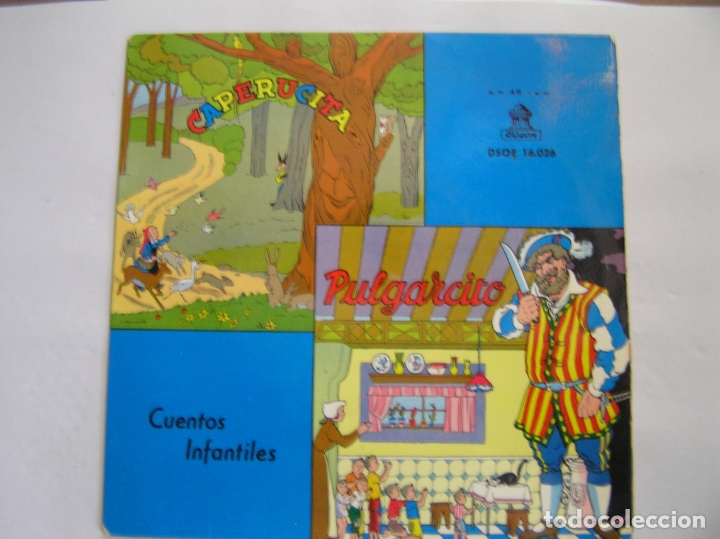 JUAN MORERA VILELLA – CUENTOS INFANTILES: CAPERUCITA / PULGARCITO - ODEON  1958 - SINGLE - PL (Música - Discos de Vinilo - Maxi Singles - Música Infantil)