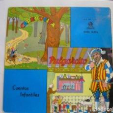 Discos de vinilo: JUAN MORERA VILELLA – CUENTOS INFANTILES: CAPERUCITA / PULGARCITO - ODEON  1958 - SINGLE - PL. Lote 176971460
