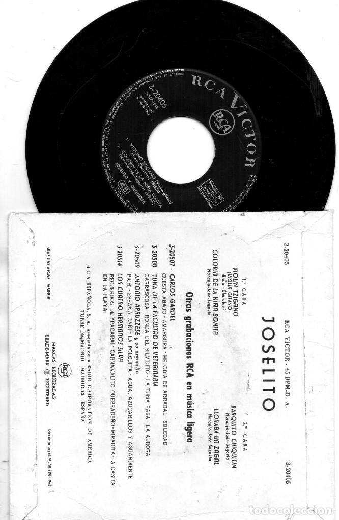 Discos de vinilo: EP 1962 - JOSELITO - ESCUCHA MI CANCIÓN - VIOLINO TZIGANO + 3 - Foto 2 - 176985965