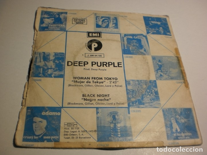 Discos de vinilo: single deep purple. woman from tokyo. black night. emi 1973 spain (probado y bien) - Foto 2 - 176994809