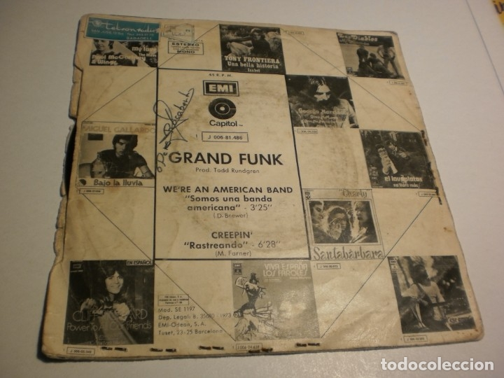 Discos de vinilo: single grand funk. we're an american band. creepin'. rundgren 1973 spain (probado y bien) - Foto 2 - 176995228