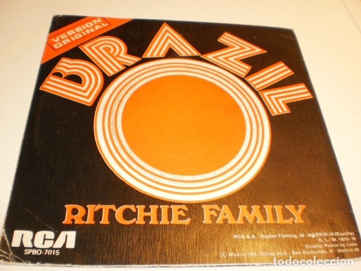 Discos de vinilo: single ritchie family. brazil. hot trip. rca 1975 spain (disco probado y bien) - Foto 2 - 176996397