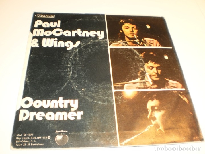 Discos de vinilo: single paul mccartney (beatles) & wings Helen wheels. country dreamer. apple 1973 spain (probado) - Foto 2 - 177012075
