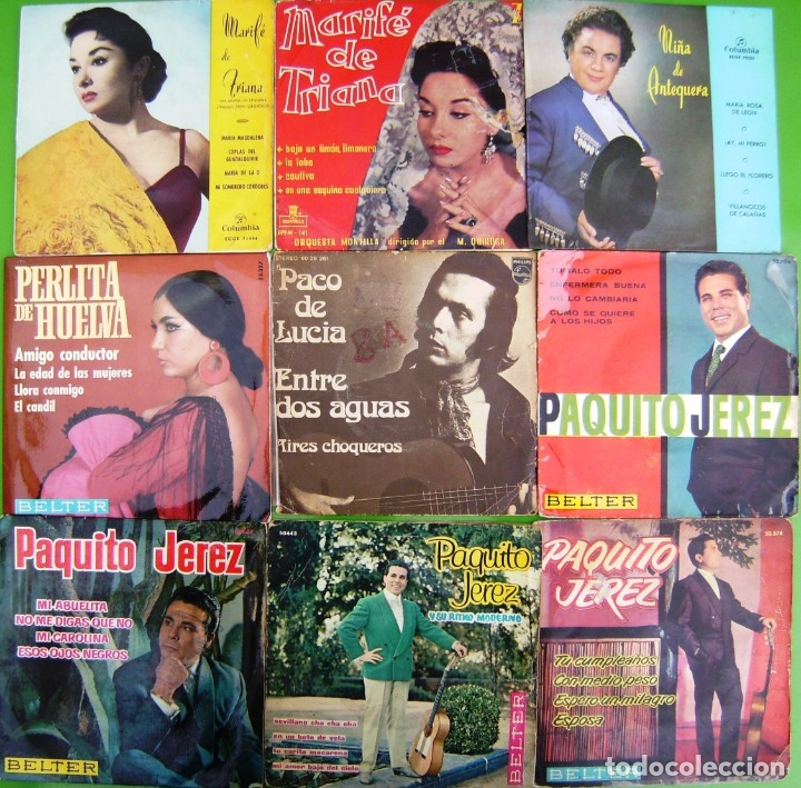 LOTE 9 SINGLES: MARIFE DE TRIANA, PAQUITO JEREZ, PACO DE LUCIA, NIÑA DE ANTEQUERA, PERLITA (Música - Discos - Singles Vinilo - Flamenco, Canción española y Cuplé)