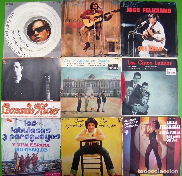 LOTE 9 SINGLES: JOSE FELICIANO, LEONARDO FAVIO, LOS 5 LATINOS, LUISA FERNANDEZ, LOS 3 PARAGUAYOS (Música - Discos - Singles Vinilo - Grupos y Solistas de latinoamérica)