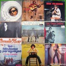 Discos de vinilo: LOTE 9 SINGLES: JOSE FELICIANO, LEONARDO FAVIO, LOS 5 LATINOS, LUISA FERNANDEZ, LOS 3 PARAGUAYOS. Lote 177015420