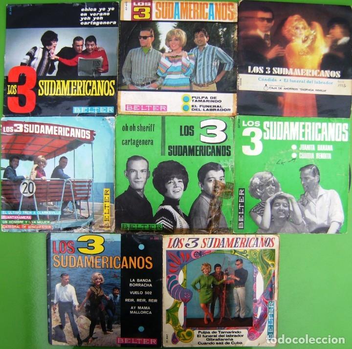 LOTE 8 SINGLES DE LOS 3 SUDAMERICANOS (Música - Discos - Singles Vinilo - Grupos y Solistas de latinoamérica)
