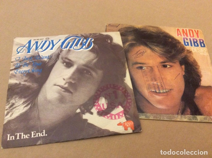 ANDY GIBB. I JUST WANT TO BE YOUR EVERYTHING/ IN THE END. + DESIRE/WAITING FOR YOU. LOTE 2 SINGLES. (Música - Discos - Singles Vinilo - Pop - Rock - Extranjero de los 70)