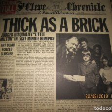 Discos de vinilo: JETHRO TULL - THICK AS A BRICK LP - ORIGINAL U.S.A. - REPRISE 1972 PORTADA PERIODICO - COMPLETO -. Lote 177028754