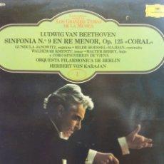Discos de vinilo: LUDWIG VAN BEETHOVEN. SINFONIA Nº 9 EN RE MENOR OP 125 CORAL. ORQUESTA FILARMONICA DE BERLIN. Lote 177127423