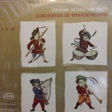 Discos de vinilo: CONCIERTOS DE BRANDENBURGO. JOHANN SEBASTIAN BACH. I-II-IV. STEREO. Lote 177136684