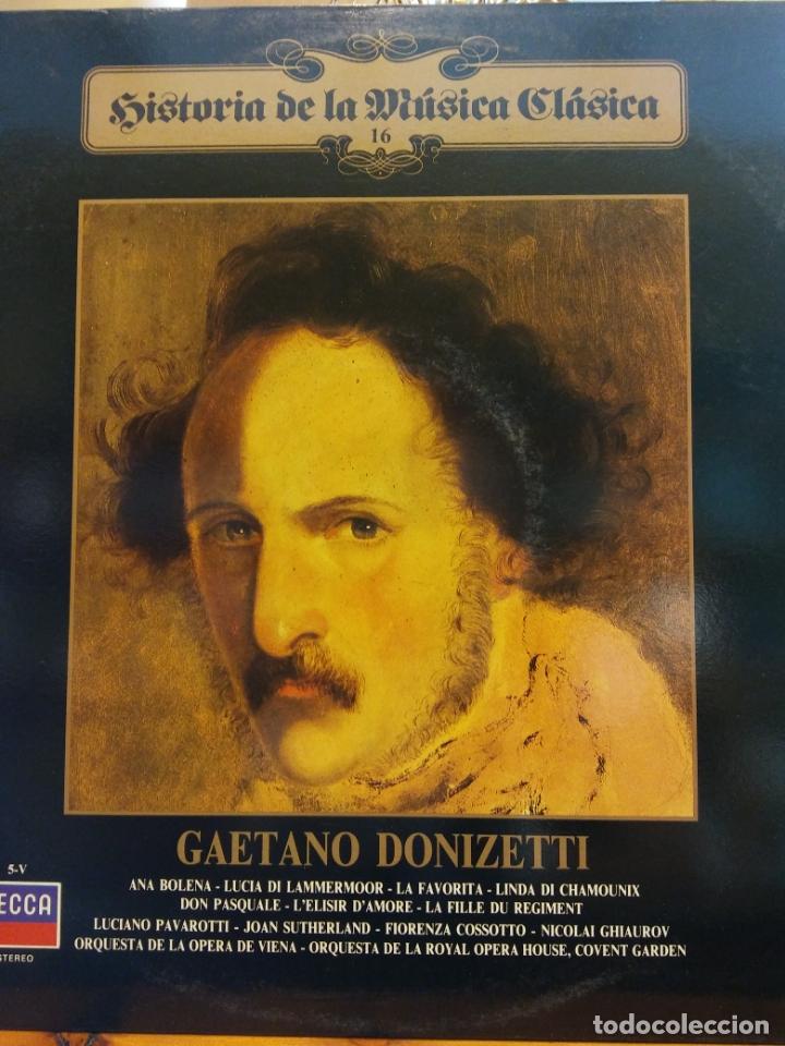 HISTORIA DE LA MÚSICA CLÁSICA Nº 16. GAETANO DONIZETTI. (Música - Discos - LP Vinilo - Clásica, Ópera, Zarzuela y Marchas)