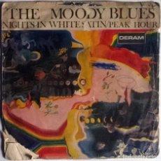 Dischi in vinile: MOODY BLUES. NIGHTS IN WHITE SATIN/ PEAK HOUR. DERAM, SPAIN 1967 SINGLE. Lote 177185240