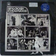 Discos de vinilo: BING CROSBY// IN HOLLYWOOD//DOBLE PORTAD Y DISCO//MADE IN ENGLAND/(VG VG).LP. Lote 177247783