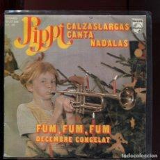 Discos de vinilo: PIPPI CALZASLARGAS CANTA NADALAS. DESEMBRE CONGELAT. FUM, FUM, PHILIPS 1975. Lote 177255232