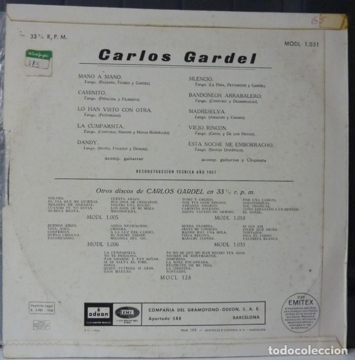 Discos de vinilo: CARLOS GARDEL// MANO A MANO Y OTRAS//1958//(VG VG). 33 RPM - Foto 2 - 177267792