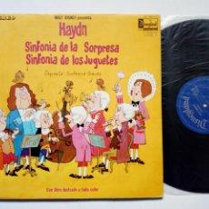 Disques de vinyle: LP: DISNEYLAND RECORD - HAYDN: SINFONÍA DE LA SORPRESA - SINFONÍA DE LOS JUGUETES (HISPAVOX, 1970). Lote 177299004
